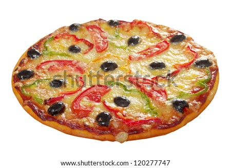 home pizza m paprika and olive Closeup .Shallow depth-of-field.isolated on white background. clipping Path