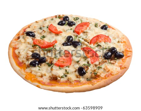 home pizza with tomato and eggplant - stock photo