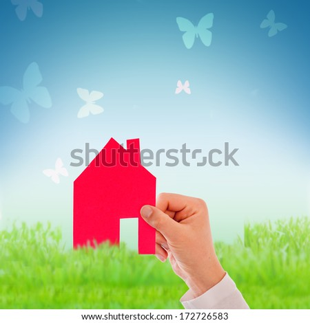 home planning symbol background in green