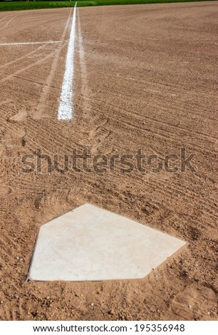 Home plate with the third base line - stock photo