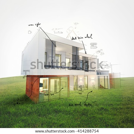 Home project on lawn 3d rendering - stock photo