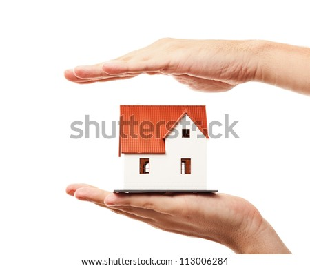 Home protection concept. Isolated on white background - stock photo