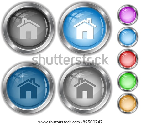 Home. Raster internet buttons. Vector version is in portfolio. - stock photo