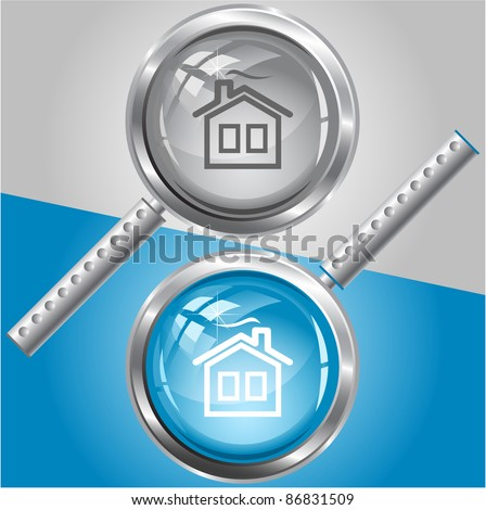 Home. Raster magnifying glass. Vector version is in my portfolio.