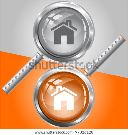 Home. Raster magnifying glass. Vector version is in my portfolio. - stock photo