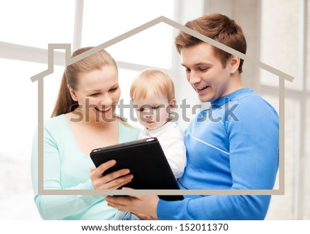 home, real estate and family concept - family with child, dream house and tablet pc - stock photo