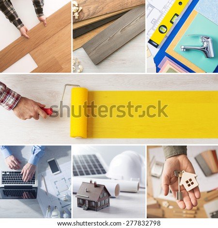 Home renovation and improvement step by step collage with professionals hands at work and roller paint at center with copy space - stock photo