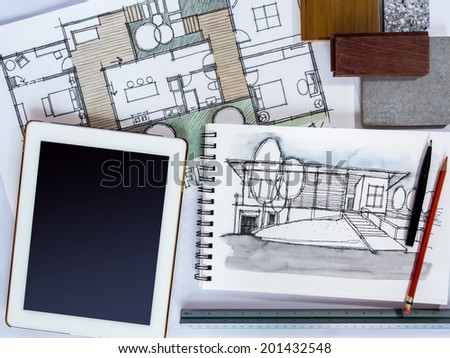 Home renovation concept with tablet, architecture /interior  drawing and material sample - stock photo