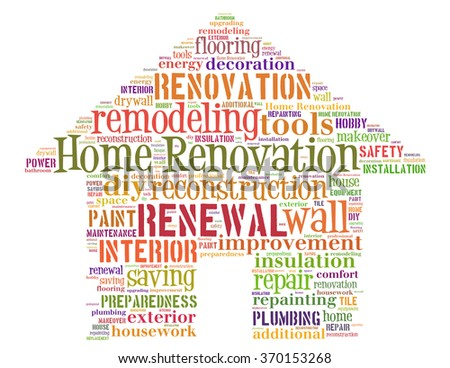 Home Renovation House, word cloud concept on white background.
