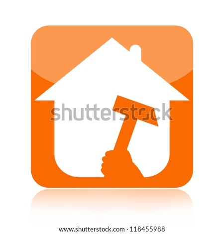 Home renovation icon with house and tool isolated over white background - stock photo