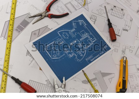 Home Renovation Plan - stock photo