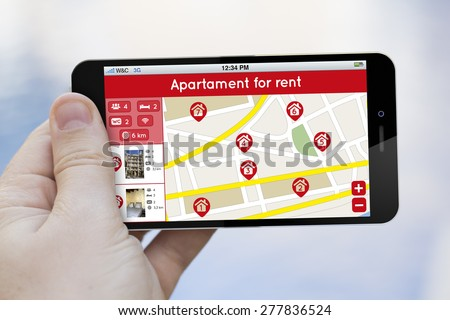 home rent search concept: 3d generated smartphone with house search results on a map on the screen - stock photo