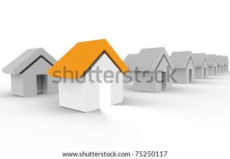 Home. Row of Houses. One House Orange and with light coming out of the door. - stock photo