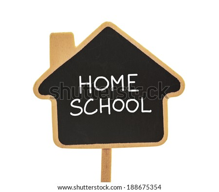 home school blackboard isolated on white - stock photo