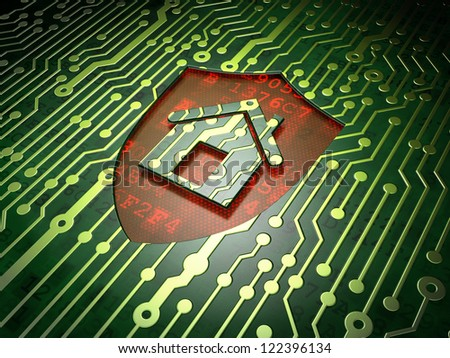 Home security concept: circuit board with shield icon, 3d render - stock photo