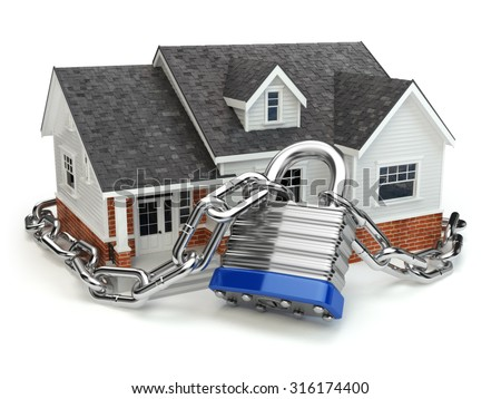 Home security concept. House with lock and chain. 3d - stock photo