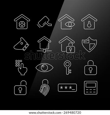 Home security concept icon set - Linear Series - stock photo