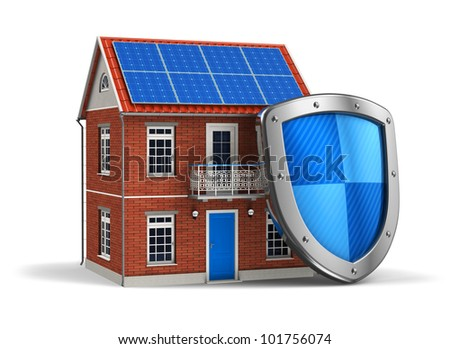 Home security concept: residential house covered by protection shield isolated on white background - stock photo