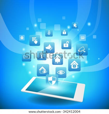 Home Security Concept - smart phone or digital tablet pc with home security icon - stock photo