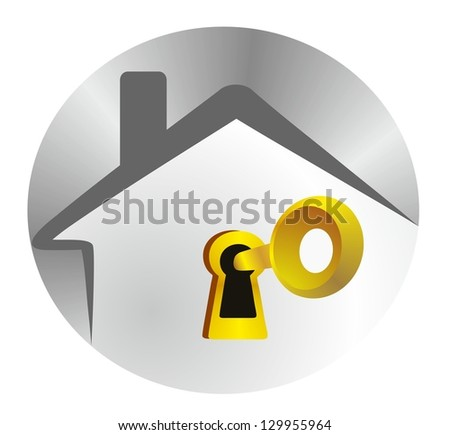 home security - silver house with a golden key - stock photo