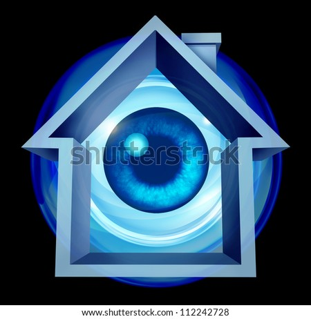 Home security system and house protection with alarm warning of risk as a residential shaped building with an eye ball looking and monitoring from hazards like flooding fire and burglary crimes. - stock photo