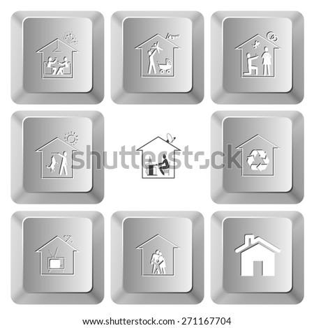 Home set. Raster set computer keys. - stock photo