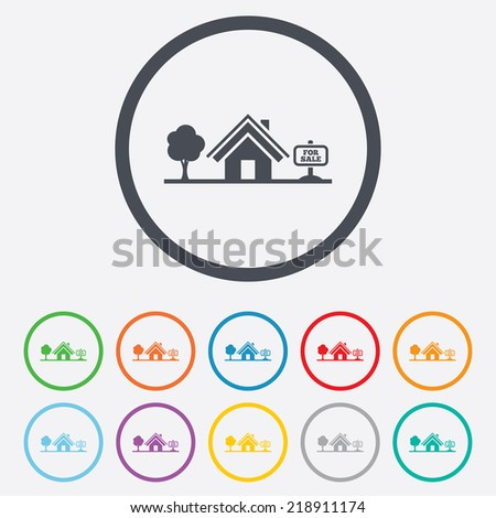 Home sign icon. House for sale. Broker symbol. Round circle buttons with frame. - stock photo