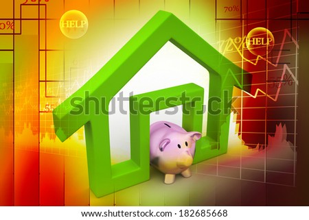 Home sign with piggy bank, investment concept - stock photo