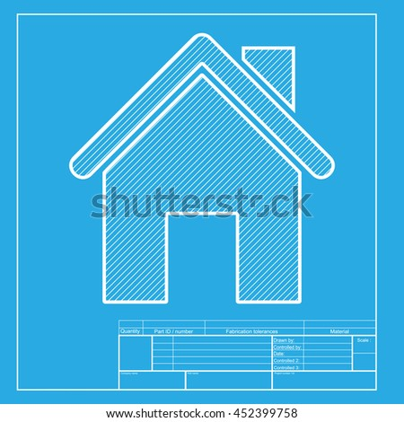 Home silhouette illustration. White section of icon on blueprint template. - stock photo