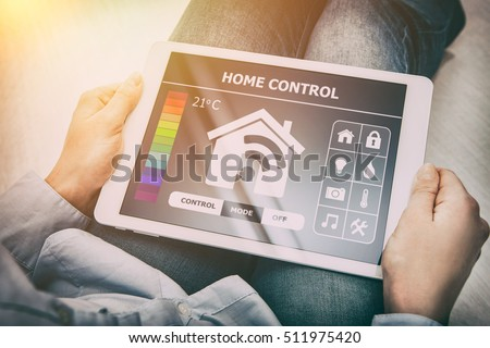 home smart system automated connection room thermostat control display monitoring tablet house remote internet light app technology concept