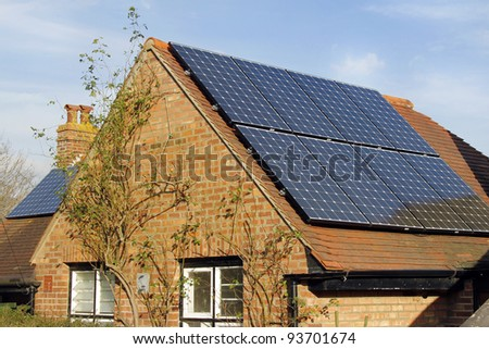 Home solar panels - stock photo