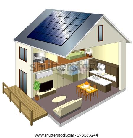 Home solar power  - stock photo