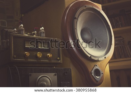 Home sound system - Natural wood sound system - oak tree body and yew tree front - stock photo