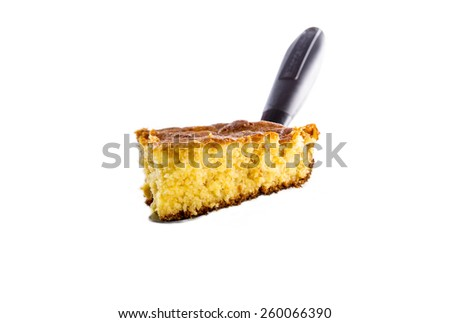 Home Style corn bread being served isolated on white. - stock photo