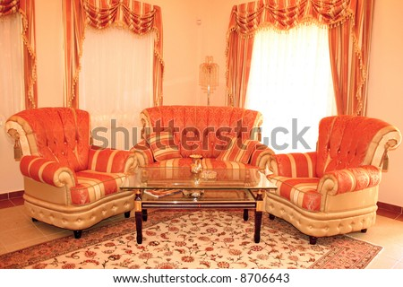 Home stylish furniture with sofa,armchairs and coffee-table. - stock photo