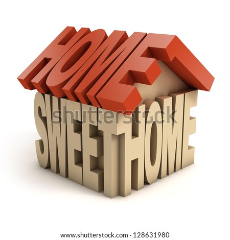 home sweet home 3d letters - stock photo