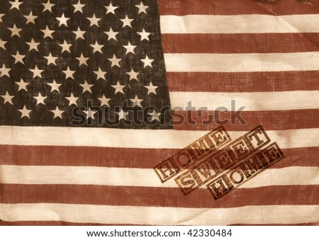 home sweet home - old worn flag with an overlay of textured wooden blocks