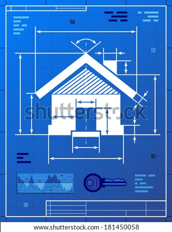 Home symbol like blueprint drawing stylized vectores en stock home symbol like blueprint drawing stylized drawing of house sign on blueprint paper qualitative malvernweather