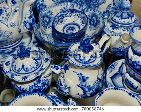 Home tableware in Russian traditional Gzhel style. Closeup. Gzhel - Russian folk craft of & Home Tableware Russian Traditional Gzhel Style Stock Photo u0026 Image ...