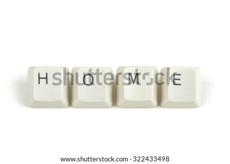 home text from scattered keyboard keys isolated on white background
