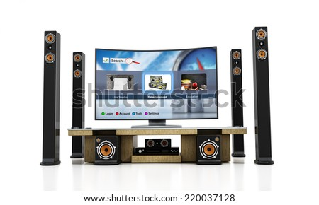 Home theater system with subwoofers, speakers and blu-ray player. Interface is my own design and consists from the images within my own portfolio. - stock photo