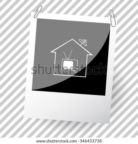 home tv. Photoframe. Raster icon. - stock photo
