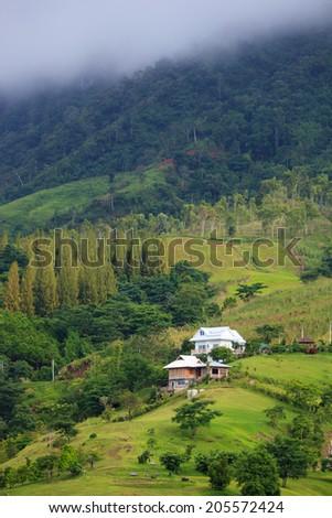 Home valley in Switzerlan view - stock photo