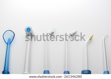 home water nozzle Dental hygiene tools set  for deep clean your teeth and gum feel fresh. - stock photo