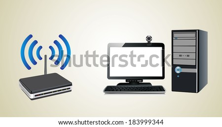 Home wifi network. Internet via router on pc - stock photo