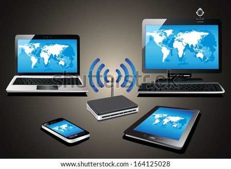 Home wifi network. Internet via router on pc, phone, laptop and tablet pc. - stock photo