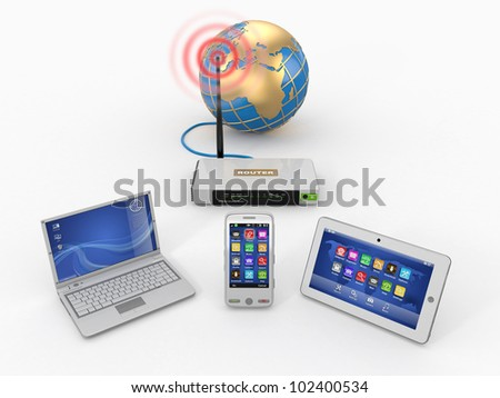 Home wifi network. Internet via router on phone, laptop and tablet pc. 3d - stock photo