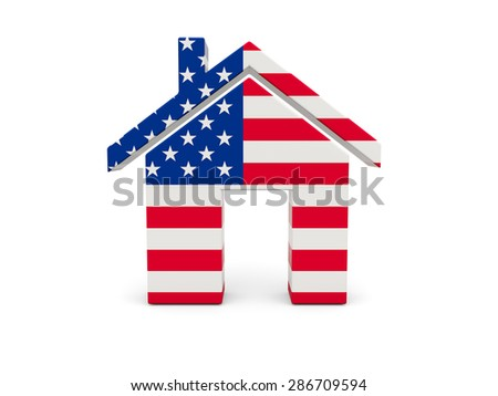 Home with flag of united states of america isolated on white