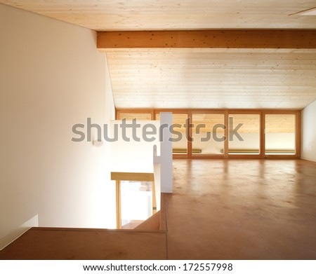 Home with wood ceiling and white wall - stock photo