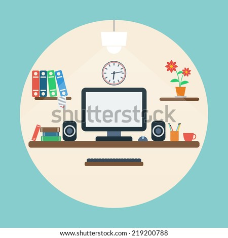 Home workplace illustration. Raster version of artwork. - stock photo
